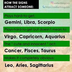 How the signs attract someone #aries #aries #taurus #taurus #gemini #gemini #cancer #cancer #leo #leo #virgo #virgo #libra #libra #scorpio #scorpio #sagittarius #sagittarius #capricorn #capricorn #aquarius #aquarius #pisces #pisces #zodiac #zodiacsigns #astrologypost #zodiacsign #zodiacthingcom