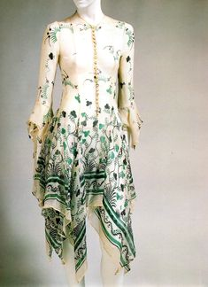 British designer Ossie Clark made some of the most ethereal garments in the 60s, including this handkerchief hemmed chiffon dress. The fabric was designed by his wife, Celia Birtwell, who still designs today.