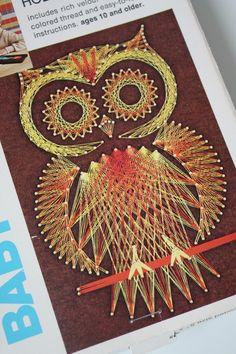 vintage baby owl string art kit UNUSED by princessparking on Etsy