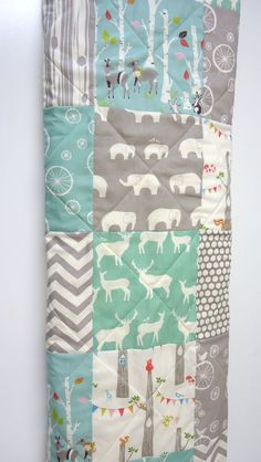 Modern-Baby Quilt-Organic-Baby Boy Bedding-Birch Fabric-Chevron-Gray-Grey-Aqua-Woodland Animal-Elephant-Deer-Baby Blanket on Etsy, $98.00