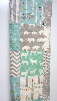 Modern-Baby Quilt-Organic-Baby Boy Bedding-Birch Fabric-Chevron-Gray-Grey-Aqua-Woodland Animal-Elephant-Deer-Baby Blanket on Etsy, $98.00