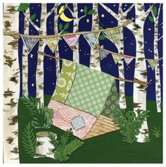 Night Sky Stars Moon Birch Trees Cut Paper Dream Tent by papertaxi, $24.00
