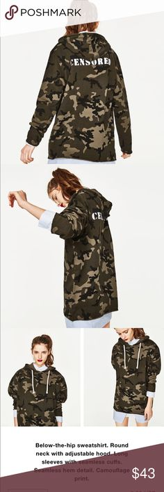 "Zara camo hoodie ""censored "" 2017 Camo hoodie, "" censored "" on back Zara Tops Sweatshirts & Hoodies"