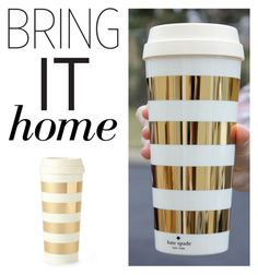 """""""Bring It Home: Kate Spade New York Gold Striped Thermal Mug"""" by polyvore-editorial ❤ liked on Polyvore featuring interior, interiors, interior design, home, home decor, interior decorating, Kate Spade and bringithome"""