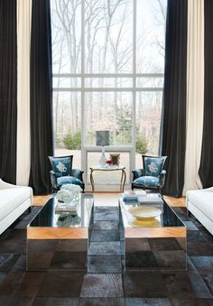 Living Room - eclectic - living room - baltimore - by Design Loft Interiors. love the curtains! Eclectic Living Room, Transitional Living Rooms, Eclectic Decor, Living Room Designs, Living Room Photos, Living Spaces, Loft Interiors, Residential Interior Design, Cool House Designs