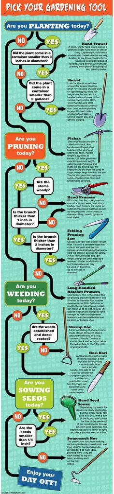 Do you need your hand trowel or your shovel? Follow this flow chart to pick the correct gardening tool. | 23 Diagrams That Make Gardening So Much Easier
