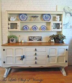 Large Old Charm Solid Oak Welsh Dresser Sideboard Cupboard Cabinet Shabby Chic