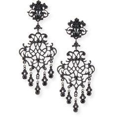 Jose & Maria Barrera Lace Scroll Dangle Earrings ($410) ❤ liked on Polyvore featuring jewelry, earrings, gunmetal, long black earrings, long earrings, clip earrings, black jewelry and clip on earrings