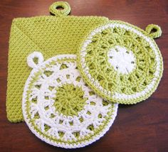 Potholders for Kitchen Crocheted in Yellow or by FindUrHappyPlace, $20.00