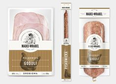 """Branding and packaging design for a local meat manufacturer from Silesia. Madej & Wróbel are the surnames of the company's owners. """"Madej"""" is a name of a legendary outlaw and """"Wróbel"""" is a sparrow in Polish. Food Branding, Food Packaging Design, Brand Packaging, Box Packaging, Branding Design, Label Design, Package Design, Carne, Concept"""