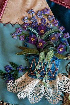 "Crazy quilting Plays With Needles: Shirlee Fassells Award-Winning Quilt, "" Vintage Vignettes"" Crazy Quilting, Crazy Quilt Stitches, Crazy Quilt Blocks, Crazy Patchwork, Silk Ribbon Embroidery, Embroidery Stitches, Embroidery Patterns, Hand Embroidery, Quilt Patterns"