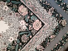 Vintage Liberty of London grey, ivory and pink floral silk scarf