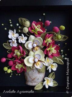 Картина панно рисунок Квиллинг Любимые орхидеи и лимончик Бумажные полосы фото 1