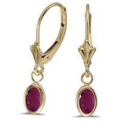14K YELLOW GOLD 1.20 CT LEVERBACK OVAL GENUINE GARNET EARRINGS
