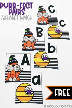 I can't wait to try this alphabet match! It's a perfect literacy center for kindergarten or prek. Literacy Skills, Kindergarten Literacy, Early Literacy, Literacy Activities, Playdough To Plato, Alphabet Games, Alphabet Letters, Abc Games, Back To School Hacks
