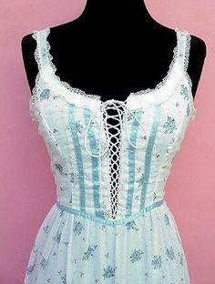Blue satin ribbon and white floral Gunne Sax sundress