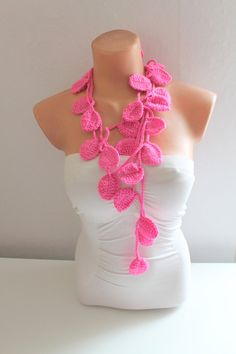 Pink Leaf Scarf Crochet Lariat Scarf by fairstore on Etsy, $19.00