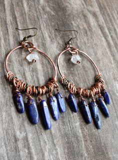 Bohemian Earrings Hammered Copper Hoops with by DeerGirlDesigns, #wirework
