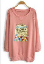 #sheinside Pink Long Sleeve Candy Print Loose Sweatshirt $31.2