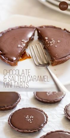 Vegan chocolate & salted caramel mini tarts // A decadent and elegant vegan dessert that requires fewer than 10 ingredients. These are made of vegan shortcrust pastry, topped with salted caramel and chocolate ganache. Vegan Dessert Recipes, Tart Recipes, Sweet Recipes, Delicious Desserts, Cheap Recipes, Dessert Food, Recipes Dinner, Vegetarian Desserts, Dessert Healthy