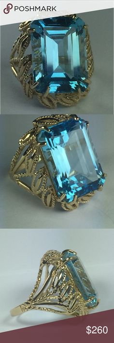 14K Large Blue Topaz Ring **************LAYAWAY AVAILABLE {Inquire}********** This is a beautiful Emerald / Step-cut Crystal Clear BIG Estate Blue Topaz Ring. The setting is so lovely!  A sturdy, yet delicate, feminine style.   Real Solid 14k 14 k 14kt 14 kt Not 10k 18k 22k or 24k Estate / Vintage Jewelry Rings