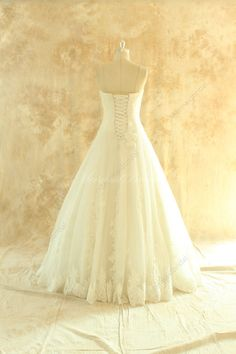 Strapless ivory tulle lace wedding dress ball by MermaidBridal