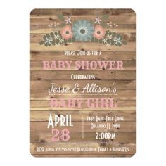 Rustic Floral Baby Girl Baby Shower Invitation - chic design idea diy elegant beautiful stylish modern exclusive trendy
