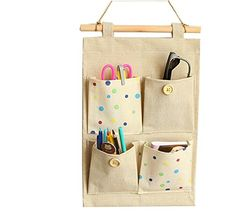 Niubai CottonLinen Fabric Wall Hanging Organizer 4Pockets Door Hanging Storage Bag *** Click image for more details.