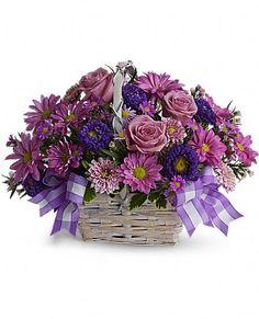 Daisy Daydreams purple fllowers in a basket