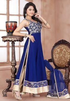 Blue Faux Georgette Readymade Anarkali Churidar Kameez: KYM149