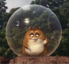 Rhino the hamster in the animated film Bolt voice if disney animator Mark Walton!