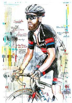 Simon Geschke by Horst Brozy Cycling Art, Cycling Bikes, Simon Geschke, Bike Poster, Cargo Bike, Bicycle Art, Grand Tour, Road Racing, Sport Bikes