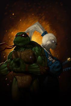 Raphael & Usagi Yojimbo! (Raph Usagui by ~redeve on deviantART)