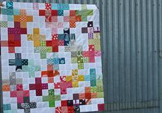 "rainbow scraps + sign quilt, this would be another good one for elem kids.  grid out 5x5"" lines on old white sheet.  give the kids a glue stick and 5 coor squares.  Let them work out the layout."