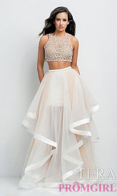 Cheap knockoff of the Hayley Paige Dori..would love this if the quality was better!  Long Two Piece High Neck Dress by Terani at PromGirl.com