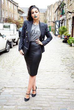 Alya Mooro in vintage Balmain blazer, Zara skirt and Michael Kors heels