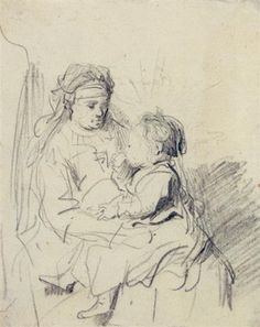 A Nurse and an Eating Child - Rembrandt