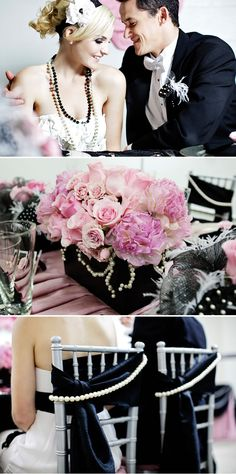 black, pink, and pearls!...Besides the flowers everything you can buy at the dollar store. Love