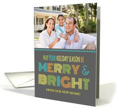 Photo Merry & Bright We've Moved Christmas Card - Colorful Modern card by Dreaming Mind Cards