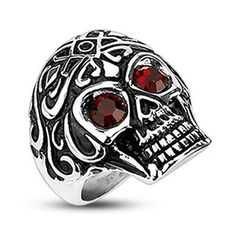 Stainless Steel Royal Tribe Red CZ Eyed Skull Wide Cast Ring (261)