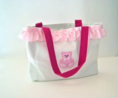 Pink Bear Tote Bag with Pink Satin Ruffle - Baby Shower Gift - Diaper Bag on Etsy, $24.00