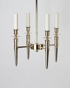 Four delicately rope and bead-detailed, tapered torches hang within a hard-backed linen shade. Black Bookcase, Polished Brass, Chandeliers, Antique Brass, Silver Plate, Pendants, Shades, Ceiling Lights, Dark