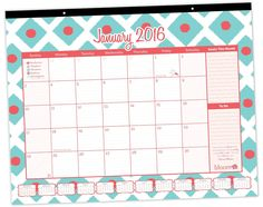 2016 Calendar Year Desk Calendar - Ikat Diamonds