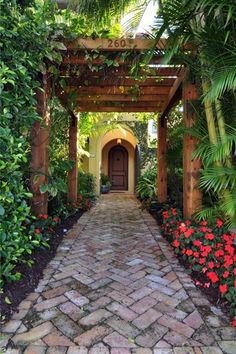 Tropical Landscape/Yard with Trellis, Tropical garden, Wood arbor, Pathway, Antique Brick Pavers, exterior brick floors