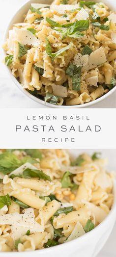An easy Lemon Basil Pasta Salad recipe that's light and refreshing. An easy Lemon Basil Pasta Salad recipe that's light and refreshing. Lemon Pasta Salads, Summer Pasta Salad, Summer Pasta Dishes, Summer Pasta Recipes, Summer Recipes For Dinner, Cold Pasta Salads, Pasta Salad Recipes Cold, Simple Salad Recipes, Light Pasta Salads