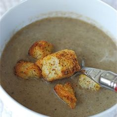 Creamy Mushroom Leek Soup with Peppery Parmesan Croutons Recipe Soups with unsalted butter, leeks, cremini mushrooms, white wine, all-purpose flour, low sodium chicken broth, whole milk, kosher salt, brioche, olive oil, grated parmesan cheese, cracked black pepper