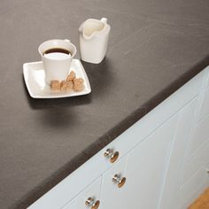 These Luna Nero grey laminate worktops have the appearance of natural slate - a unique choice for modern kitchens.