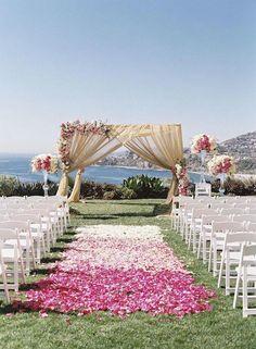 Outdoor Wedding Ceremony Decor Idea ~ Photography: Caroline Tran #destinationwedding pinned by wedding accessories and gifts specialists http://destinationweddingboutique.com