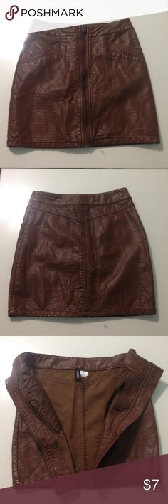 Faux leather high waisted mini pencil skirt Dark brown, size US 4 Divided Skirts Mini