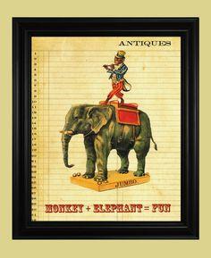 Circus Elephant Poster, Performing Circus Monkey Poster, Funny Monkey Riding an Elephant Illustration, Vintage Circus Art Print